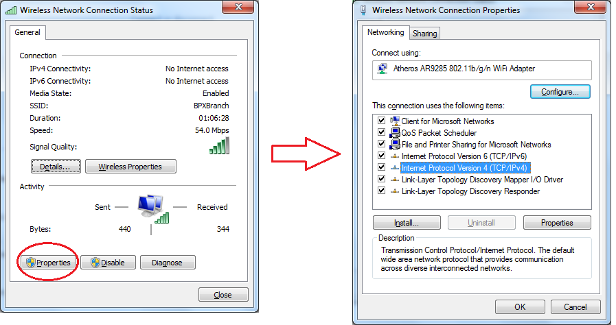 E1000 Wireless network connection status step 2